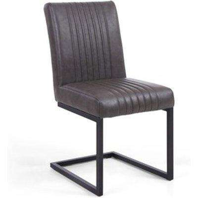 Pair Of Archer Cantilever Leather Effect Grey Dining Chair