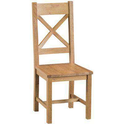 Pair of Bisbrooke Country Cross Back Dining Chairs - Medium Oak