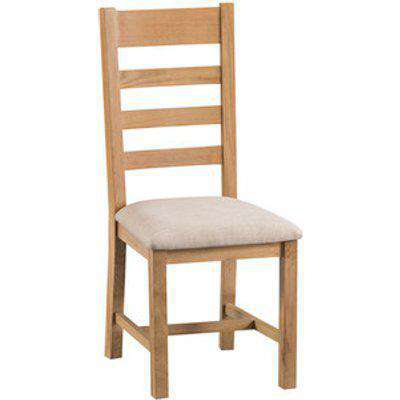 Pair of Bisbrooke Country Ladder Back Dining Chair With Fabric Seat - Medium Oak