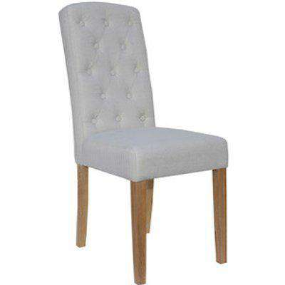 Pair of Button Back Upholstered Dining Chairs - Natural