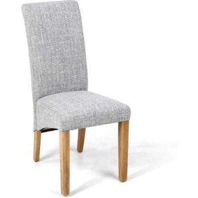 Pair Of Karta Scroll Back Flax Effect Grey Weave Dining Chair