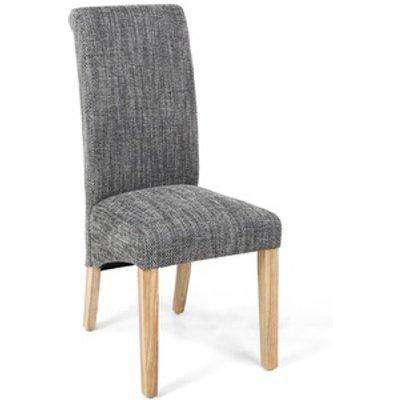Pair Of Karta Scroll Back Tweed Grey Dining Chair