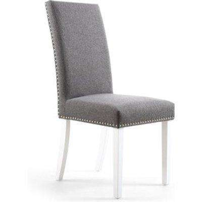 Pair Of Randall Stud Detail Linen Effect Steel Grey Dining Chair - Polyester Fabric