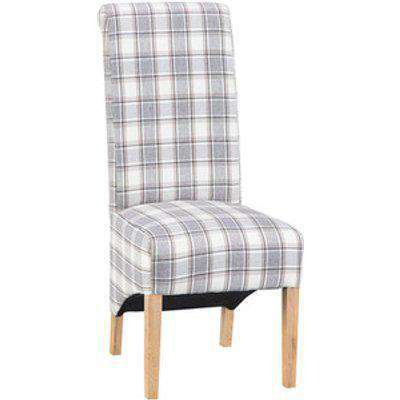 Pair of Scroll Back With Checked Pattern Dining Chairs - Cappuccino