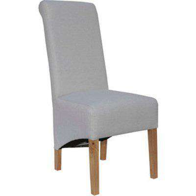 Pair of Scroll Back Fabric Dining Chairs - Natural