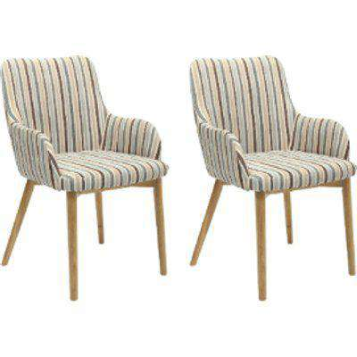 Pair Of Sidcup Dining Chairs - Blue Striped