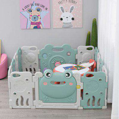 14 Panel Foldable Baby Playpen Safety Gate Kids Activity Center Fence Frog Shape Toys HDPE - Green