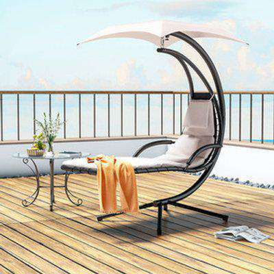 Patio Hanging Chaise Lounger - Cream White