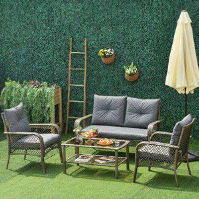 Patio PE Rattan Wicker Sofa Sets -  Grey