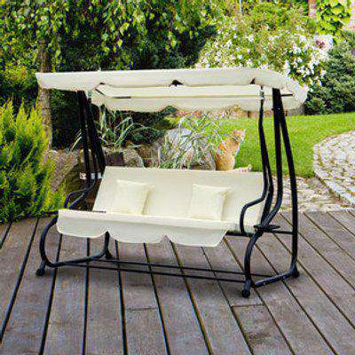 2 in 1 Patio Swing Chair Bed - Cream White