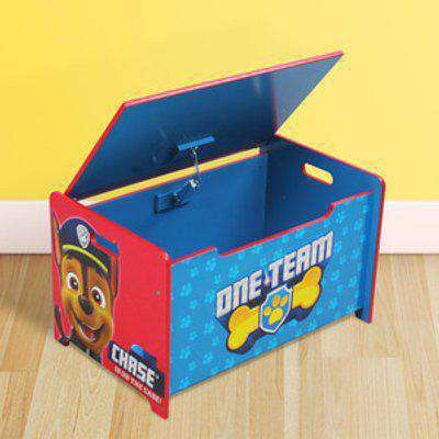 Paw Patrol Deluxe Wooden Toy Box Bench - pink