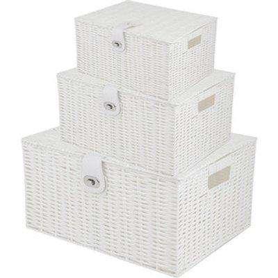 3 Pcs Rattan Storage Basket Box with Lid - White