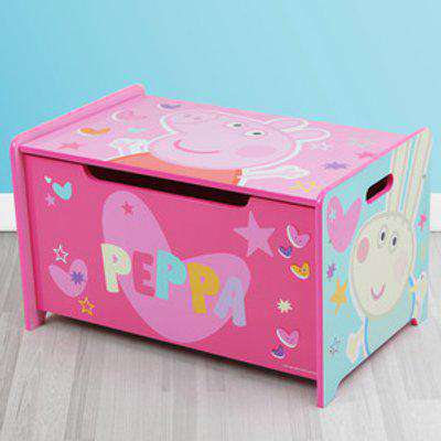 Peppa Pig Deluxe Wooden Toy Box Bench - Pink