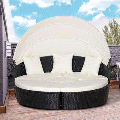 5 Piece Cushioned Outdoor Plastic Rattan Round Sofa - Black Rattan
