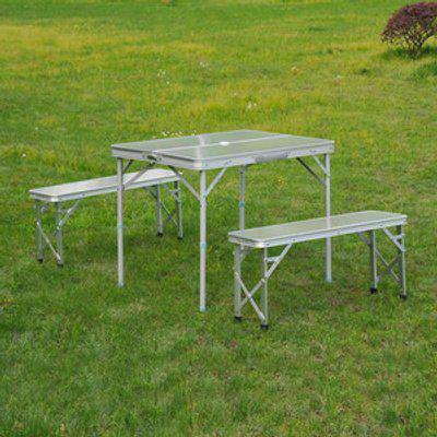 3 Piece Folding Picnic Table Bench Set - Silver