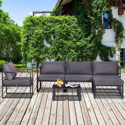 6 Piece Garden Sectional Sofa Set - Grey