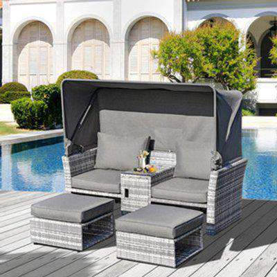 3 Piece Outdoor Rattan Daybed Sofa with Table Set  - Grey