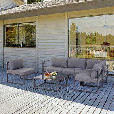 6 Piece Outdoor Sectional Sofa Set - Grey