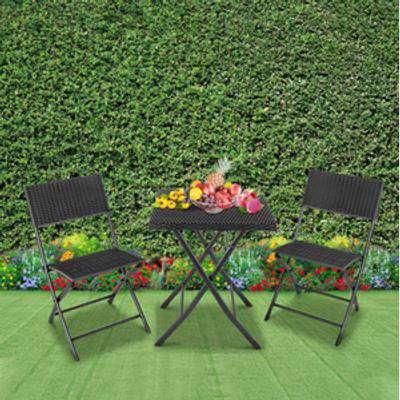 3 Piece Rattan Garden Furniture Bistro Sets - Black