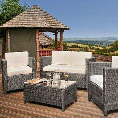 4 Piece Rattan Garden Furniture Set 2 Seater Sofa, Chairs - Grey
