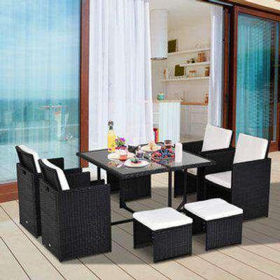 9 Piece Rattan Patio Furniture & Dining Table Set  - Black