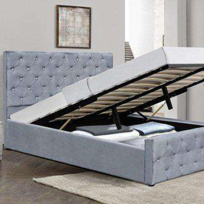 Crushed Velvet Diamante Chesterfield Ottoman Bed - Double