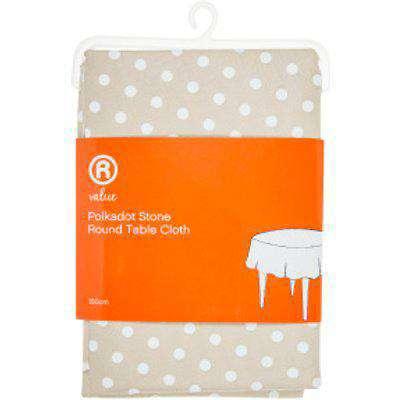 Polkadot Stone Round Tablecloth - Stone