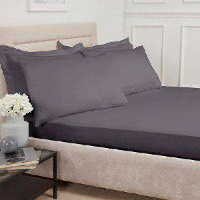 Polycotton Deep Fitted Sheet - Charcoal / Double