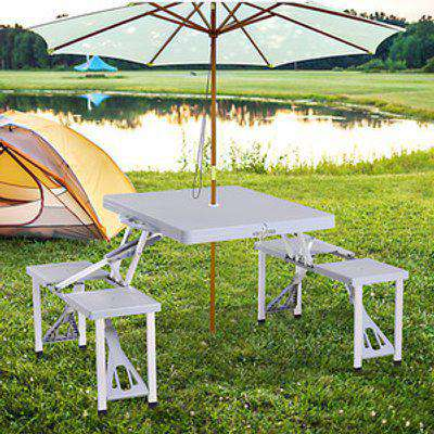 Portable Foldable Camping Picnic Table with Chairs - Grey