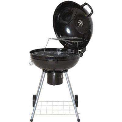Portable Kettle Charcoal BBQ Grill - Black and Silver
