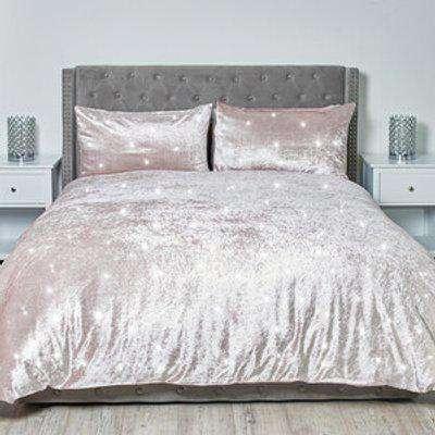 Portia Sparkle Duvet and Pillow Case - Blush / King