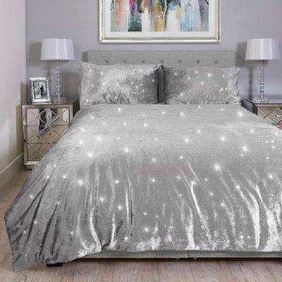 Portia Sparkle Duvet and Pillow Case - Silver / King