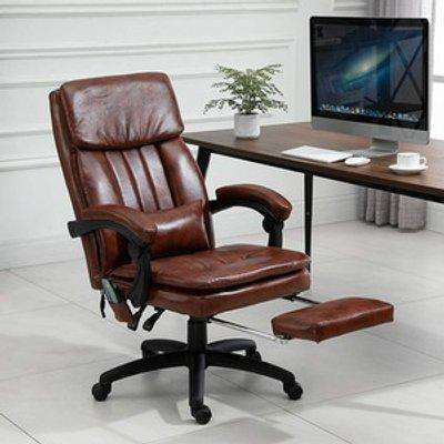 PU Leather Ergonomic Adjustable Deluxe Office Chair  - Brown