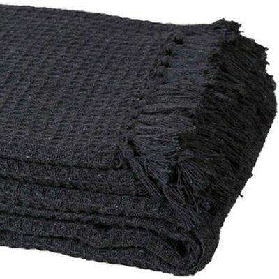 Pure Cotton Honeycomb Chair Sofa Bed Throws - Dark Grey