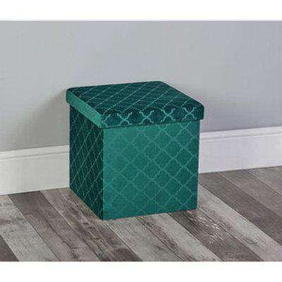Quatrefoil Storage Box - Green