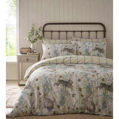 Rabbit Meadow Duvet And Pillowcase Set - Green / King