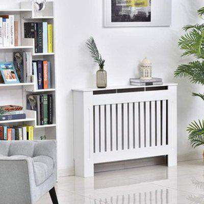 Radiator Cover Painted Slatted Cabinet - White