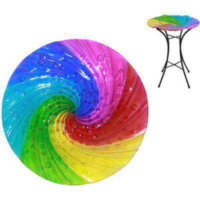 Rainbow Swirl Bird Bath