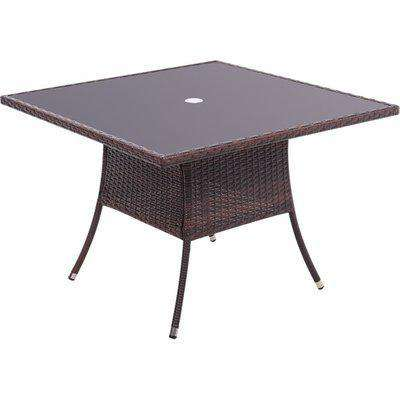 Rattan Dressing Garden Coffee Table - Brown / Square