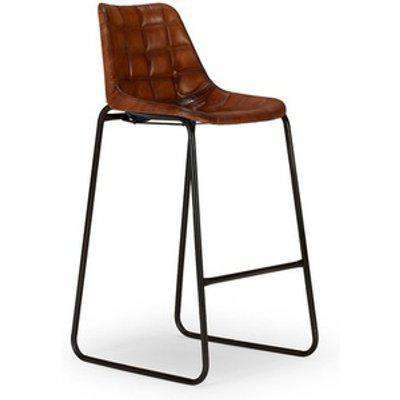 Reclaimed Metal and Genuine Brown Leather Barstool - Brown