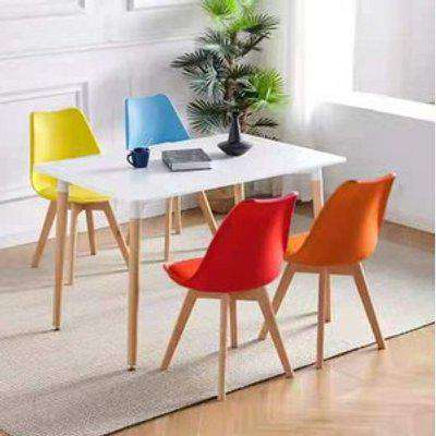 Rectangle White Wood Dining Table with 4 Colourful Chairs Set