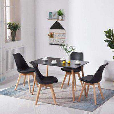 Rectangle Wood Dining Table with 4 Chairs Set - Black