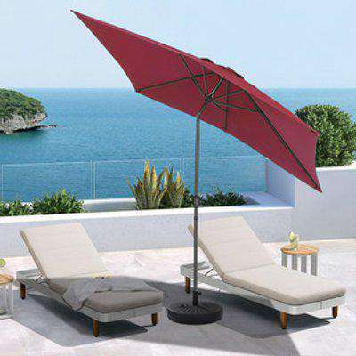 3M Rectangular Traditional Parasol With Round Umbrella Stand - Wine Red