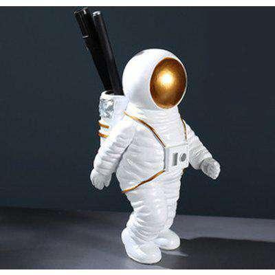 Resin Astronaut Statue Pen Holder for Desk Decoration - White / 8cm
