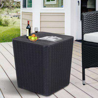 Resin Rattan Outdoor Table with Storage - Black