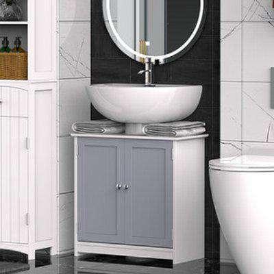 Retro Under-Sink Storage Cabinet with Adjustable Shelf Handles - Grey and white