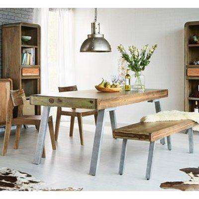 Retro Wood and Metal Medium Dining Table - Two-Tone