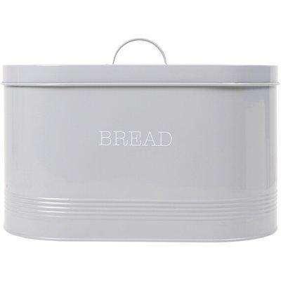 Ribbed Oval Bread Bin - Grey