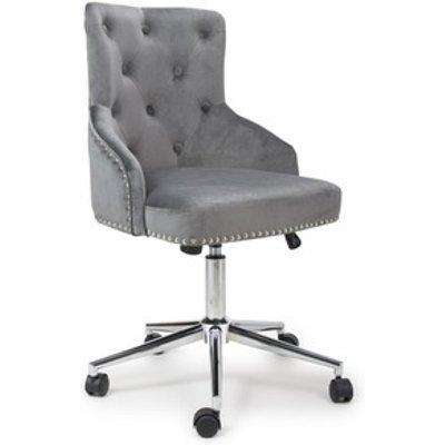 Rocco Brushed Velvet Grey Office Chair