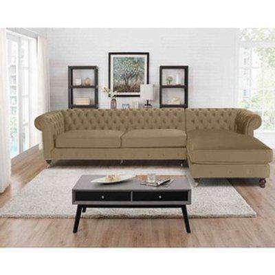 Ronald Chesterfield L Shape Corner Sofa - Parchment